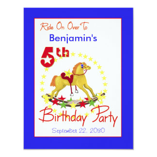 5th Birthday Party Rocking Horse 4.25x5.5 Paper Invitation Card