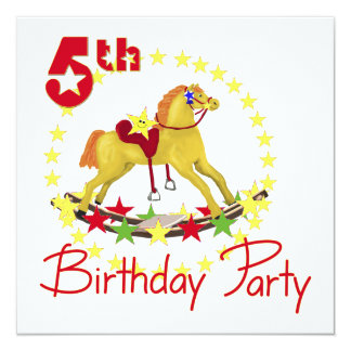 5th Birthday Party Rocking Horse 5.25x5.25 Square Paper Invitation Card
