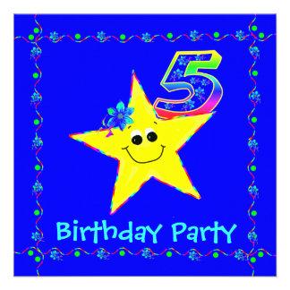 5th Birthday Party Smiley Stars Invitations