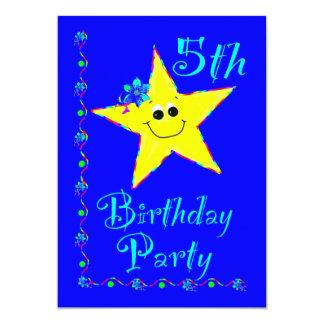5th Birthday Party Star Invitation