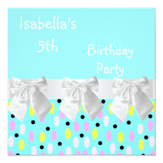 """5th Birthday Party Turquoise White Spots & Bows 5.25"""" Square Invitation Card"""