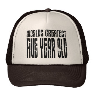 5th Birthday Party Worlds Greatest Five Year Old Mesh Hats