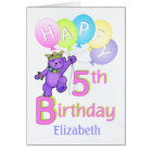 5th Birthday Princess Bear, Custom Name Card