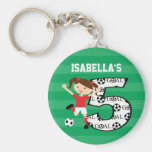 5th Birthday Red and White Soccer Girl 1 Basic Round Button Key Ring