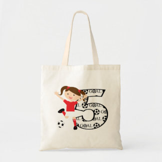 5th Birthday Red and White Soccer Girl 1 Budget Tote Bag