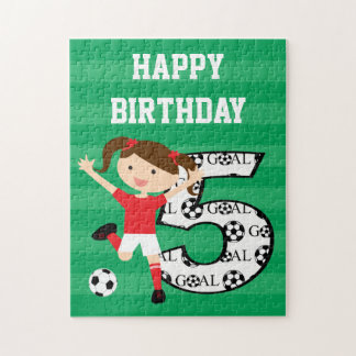 5th Birthday Red and White Soccer Girl 1 Jigsaw Puzzle