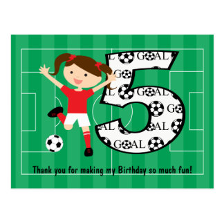 5th Birthday Red and White Soccer Girl 1 Postcard