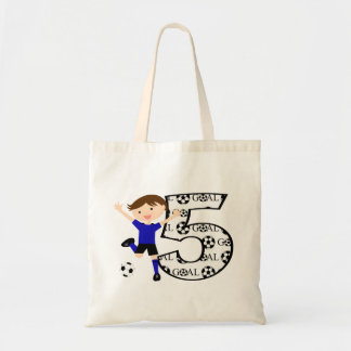5th Birthday Red and White Soccer Goal Tote Bag