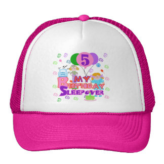5th Birthday Sleepover Tshirts and Gifts Cap