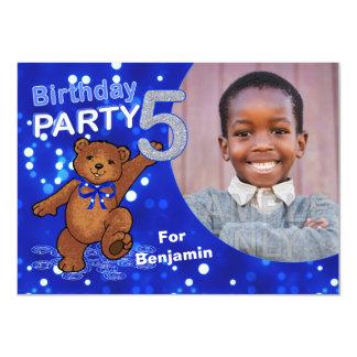 5th Birthday Teddy Bears Party, Custom Photo 11 Cm X 16 Cm Invitation Card