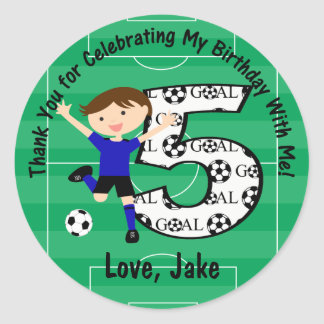 5th Birthday Thank You Blue and Black Soccer Round Sticker