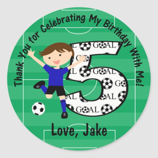 5th Birthday Thank You Blue and Black Soccer Sticker