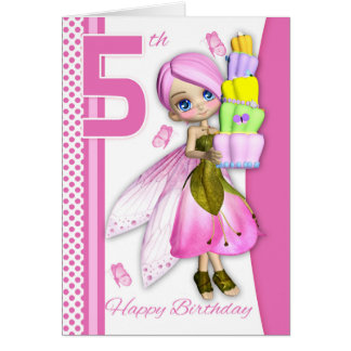 5th Birthday Tipsy Cake Fantasy Fairy Cutie Pie Card