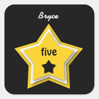 5th Birthday with Layered Stars GOLD BLACK Square Sticker