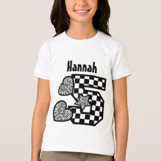 5th Birthday Zebra and Checkers Five Year V02F T-Shirt