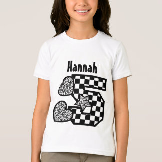 5th Birthday Zebra and Checkers Five Year V02F Tee Shirts