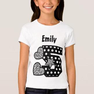 5th Birthday Zebra and Polka Dots Five Year V02C T-shirts