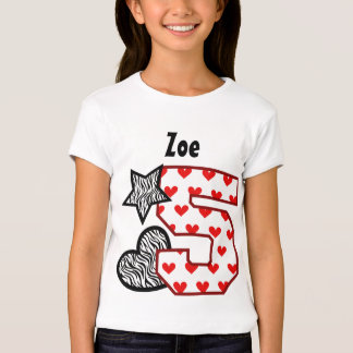 5th Birthday Zebra Red Hearts Five Year Old 10DN Tshirt