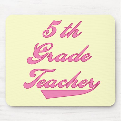 5th  Grade Teacher Pink Text Tshirts Mouse Pad