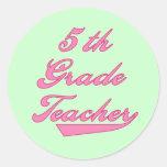 5th  Grade Teacher Pink Text Tshirts Round Stickers