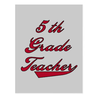 5th Grade Teacher Red Tshirts and Gifts Post Cards