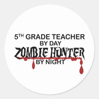 5th Grade Zombie Hunter Night Round Stickers