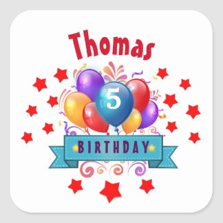 5th KIDS Birthday Festive Colorful Balloons V10J Square Sticker