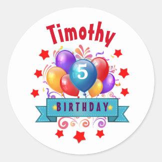 5th KIDS Birthday Festive Colorful Balloons V10JZ Classic Round Sticker