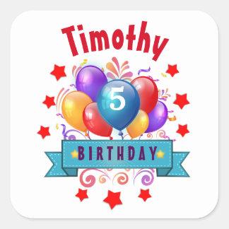 5th KIDS Birthday Festive Colorful Balloons V10JZ Square Sticker