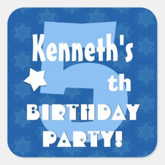 5th Kids Birthday Party Custom Name V4 Square Sticker