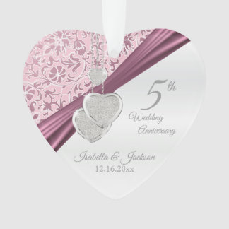 5th Pink Wedding Anniversary Ornament