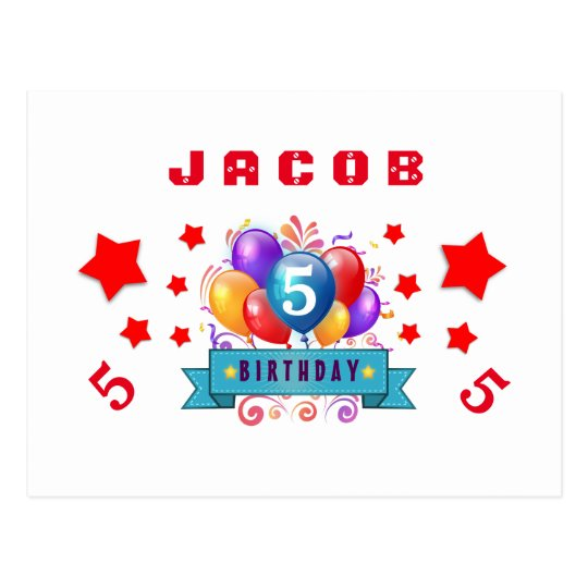 5th Save Date Birthday Balloons and Stars S01H