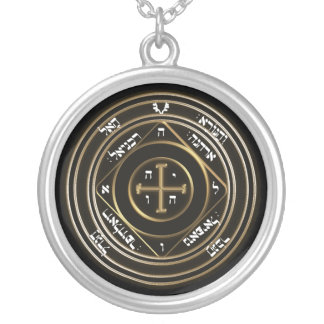 5th seal of saturn silver plated necklace