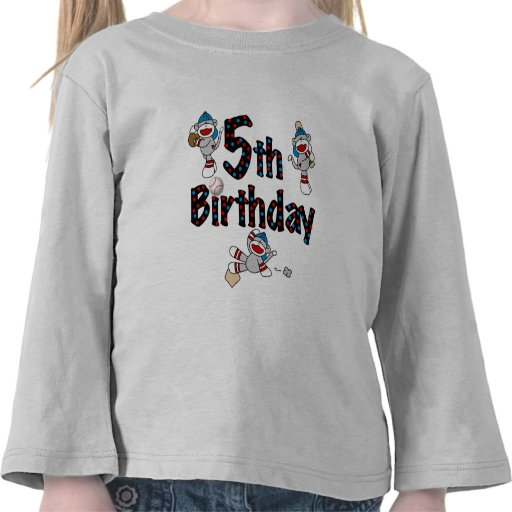5th Sock Monkey Baseball Birthday Tshirts