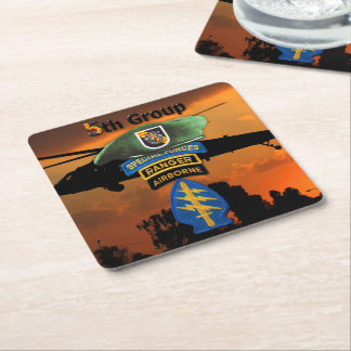 5th Special Forces Group SFG SF Veterans LRRP Square Paper Coaster