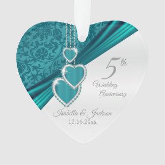 5th Turquoise Wedding Anniversary Ornament