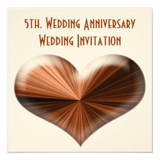 5th. Wedding Anniversary Invitation 13 Cm X 13 Cm Square Invitation Card
