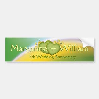 5th Wedding Anniversary Party Decoration Car Bumper Sticker