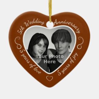 5th Wedding Anniversary Photo Christmas Ornament