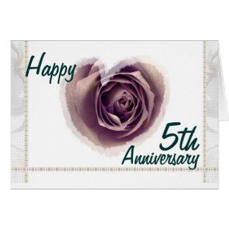 5th Wedding Anniversary - Purple Rose Heart Card
