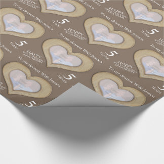 5th wood wedding anniversary custom photo wrap wrapping paper