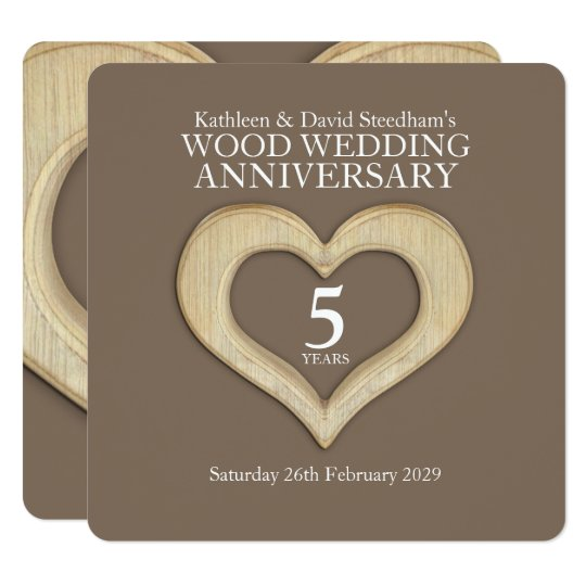 5th wood wedding anniversary heart party invites
