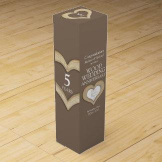 5th wood wedding anniversary heart photo wine box