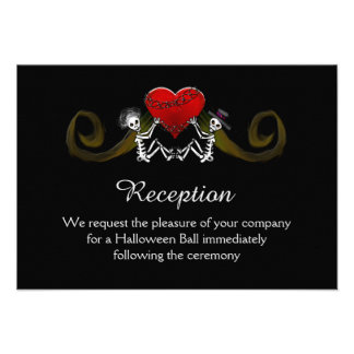 5x3.5 Reception Card - Skeleton with Hearts Custom Invitations