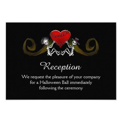 5x3.5 Reception Card - Skeleton with Hearts Custom Invitations