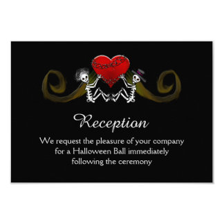 5x3.5 Reception Card - Skeleton with Hearts 9 Cm X 13 Cm Invitation Card