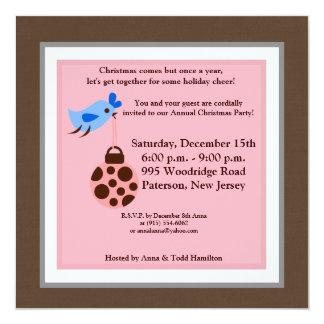 """5x5 Blue Bird / Christmas Ornaments Invitation 5.25"""" Square Invitation Card"""