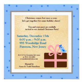 5x5 Christmas Present Blue Bird Invitation
