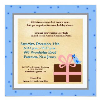 "5x5 Christmas Present Blue Bird Invitation 5.25"" Square Invitation Card"