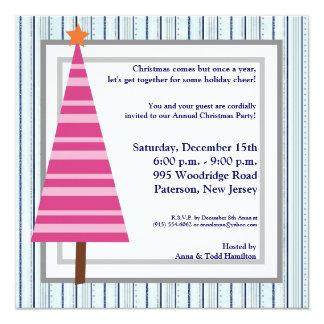5x5 Christmas Tree Pink Orange Invitation